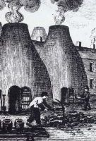 closeup of firing bottle ovens